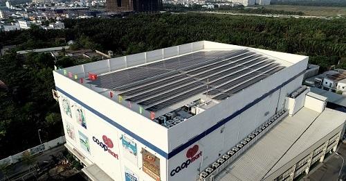Hệ thống điệnmặt trời do TTC Energy lắp đặt tại một siêu thị Saigon Co.op tại TP HCM.