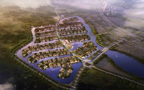 Ecopark Grand -The Island là quần thể biệt thự được xây trên các nhánh đảo vươn ra giữa mặt nước.