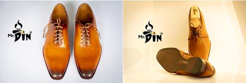 Giày Mr.Din sử dụng da bò nguyên tấm kết hợp với kỹ thuật nhuộm màu Patina và cấu trúc may McKay.
