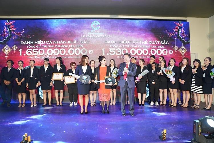 BàNguyễn Thị Mai Thu (trái) vàbà Nguyễn Thị Kim Loan nhận phần thưởngcá nhân và tập thể xuất sắc.