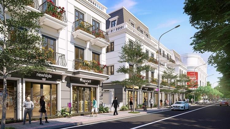 Phối cảnh các căn shophouse tại dự án.