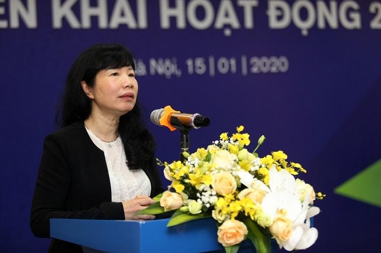 Bà Nguyễn Tú Anh - Chủ tịch Hội đồng quản trị Napas phát biểu tại hội nghị.