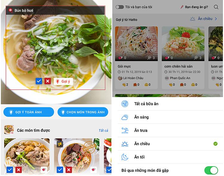 Giao diện nhận diện món ăn (bên trái) và giao diện gợi ý món ăn theo sở thích người dùng (bên phải). Ảnh: Hatto.