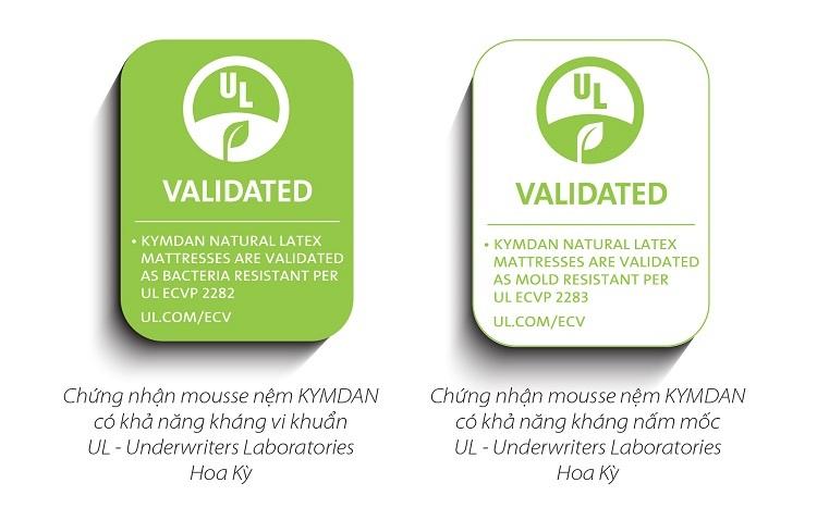 Khả năng kháng khuẩn của gối và đệm Kymdan được tổ chức UL chứng nhận.
