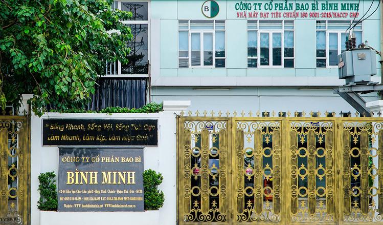 Trụ sở Công ty CP Bao bì Bình Minh tại 42 Kha Vạn Cân, khu phố 3, phường Hiệp Bình Chánh, quận Thủ Đức, TP HCM.