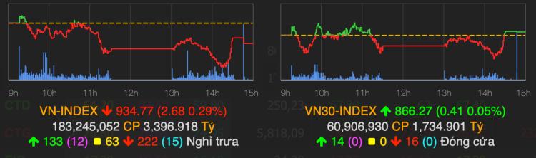 VN-Index giảm trong phiên đầu tuần. Ảnh: VNDirect
