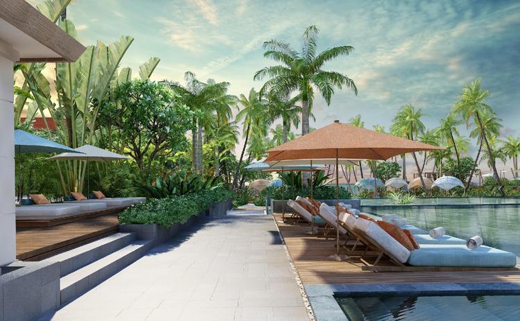 Phối cảnh hồ bơi chính. Hotline 090 117 61 81, website: www.fusionresortvillas.com