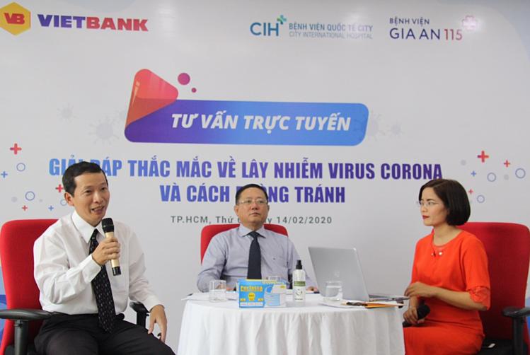 Buổi tư vấn trực tuyến Giải đáp thắc mắc về lây nhiễm virus corona và cách phòng tránh do Vietbank tổ chức ngày 14/2.