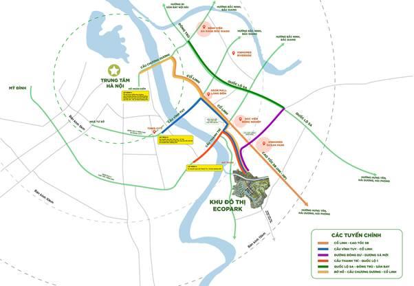 Ecopark nằm vị trí đắc địa, dễ dàng kết nối với các tuyến đường giao thông quan trọng.
