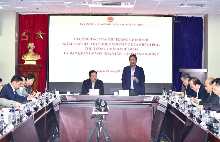 Tổ công tác của Thủ tướng làm việc với Ủy ban quản lý vốn Nhà nước ngày 20/2. Ảnh: VGP