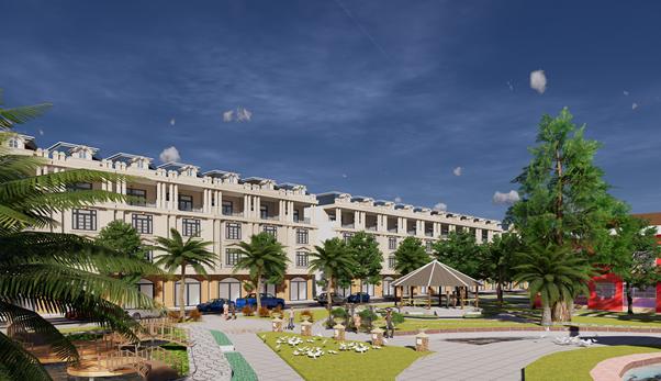 Phối cảnh khu nhà liên kế khu dân cư Thăng Long tại Bàu Bàng, Bình Dương. Hotline: 0274.625.2345.