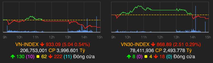 VN-Index giảm điểm phiên cuối tuần. Ảnh: VNDirect