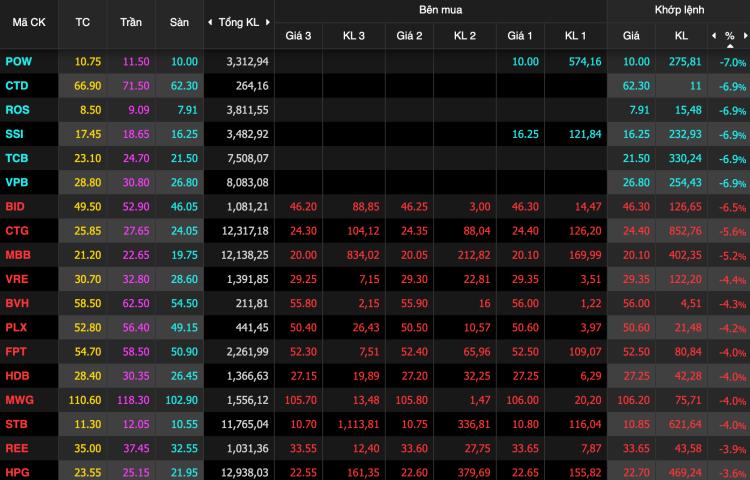 Những cổ phiếu giảm mạnh nhất VN30. Ảnh: VNDirect