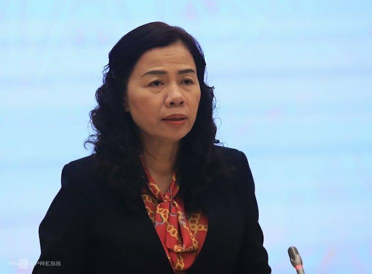 Bà Vũ Thị Mai - Thứ trưởng Bộ Tài chính trả lời tại cuộc họp báo Chính phủ ngày 3/3. Ảnh: Vũ Tuân