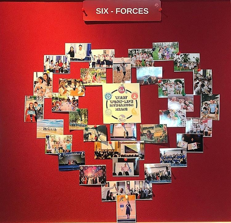 Khu vực treo những tấm ảnh thể hiện thông điệpwork-life integration,sự trọn vẹn giữa cuộc sống và công việccủa các nhân viên Mekong Capital . Ảnh: Mekong Capital