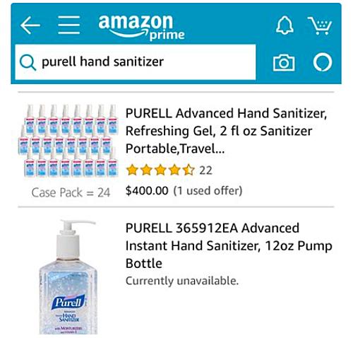 Lô 24 chai nước rửa tay được rao bán giá 400 USD, tức gần 17 USD mỗi chai, hơn gấp đôi giá thông thường trên Amazon Mỹ ngày 4/3. Ảnh: Twitter Gavin Newsom.