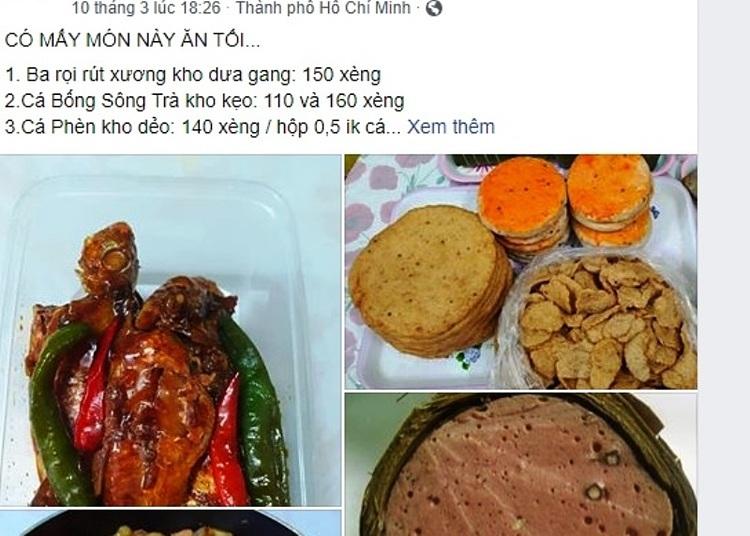 Đồ ăn bán online của một cửa hàng ở quận 3. Ảnh: Hồng Châu.