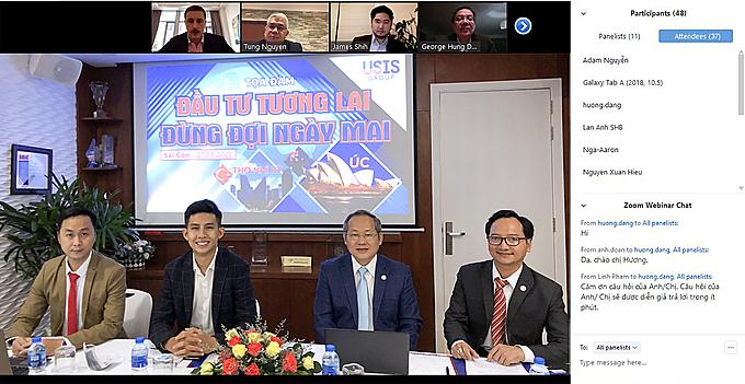 Tọa đàm ngày 27/3 với sự tham dự của các đối tác đến từ Australia (Công ty AIBC) và Thổ Nhĩ Kỳ (Tập đoàn One World) đã chia sẻ nhiều thông tin bổ ích về các chương trình định cư với khách mời tham dự trực tuyến.