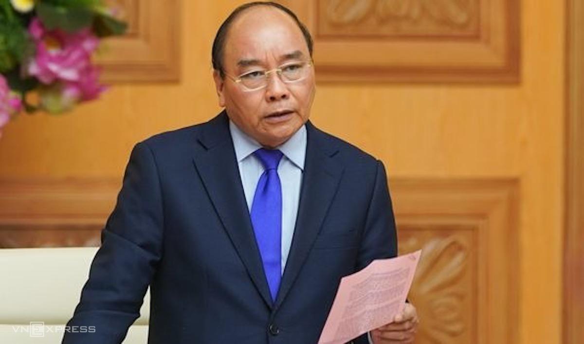 Thủ tướng Nguyễn Xuân Phúc điều hành cuộc họp thường trực Chính phủ về an ninh lương thực, chiều 31/3. Ảnh: VGP