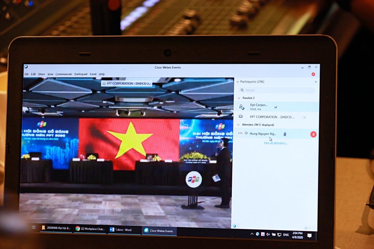Phòng họp trực tuyến theo dõi phiên họp thường niên năm 2020 của FPT.