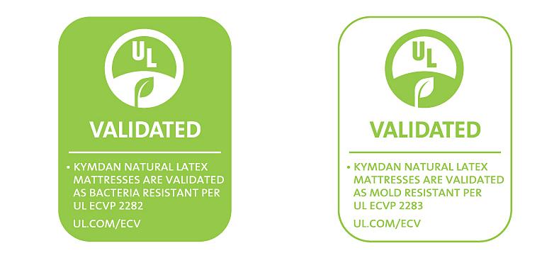 Chứng nhận khả năng kháng vi khuẩn và nấm mốc của nệm Kymdan từ tổ chức UL của Mỹ.