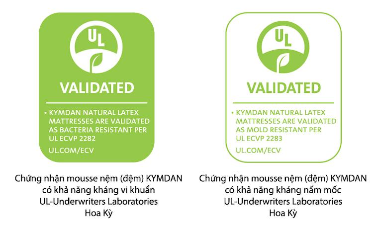 Chứng nhận khả năng kháng vi khuẩn và kháng nấm mốc của Kymdan do Tổ chức UL của Mỹ chứng nhận.