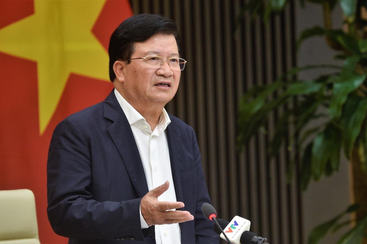 Phó thủ tướng Trịnh Đình Dũng chủ trì cuộc họp tháo gỡ khó khăn về xuất khẩu gạo chiều 20/4. Ảnh: VGP