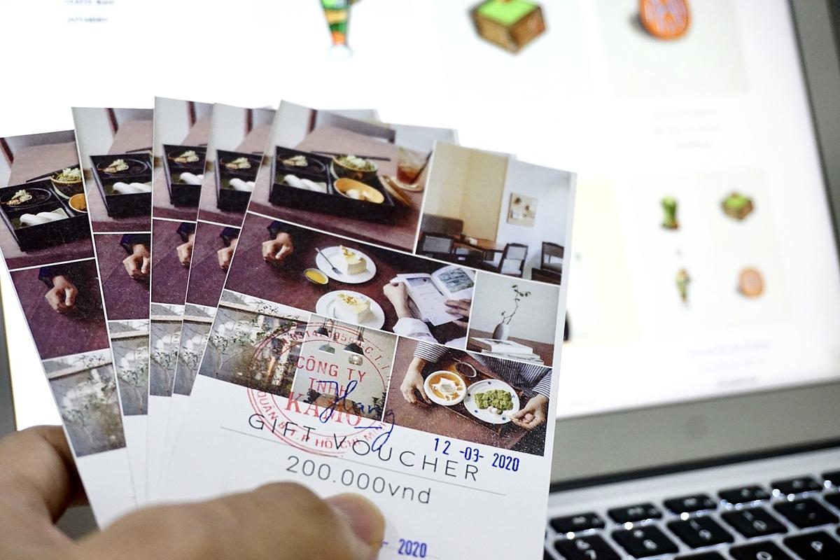 Gift voucher của một chuỗi nhà hàng phong cách Nhật có thể dùng trực tuyến được. Ảnh: Viễn Thông