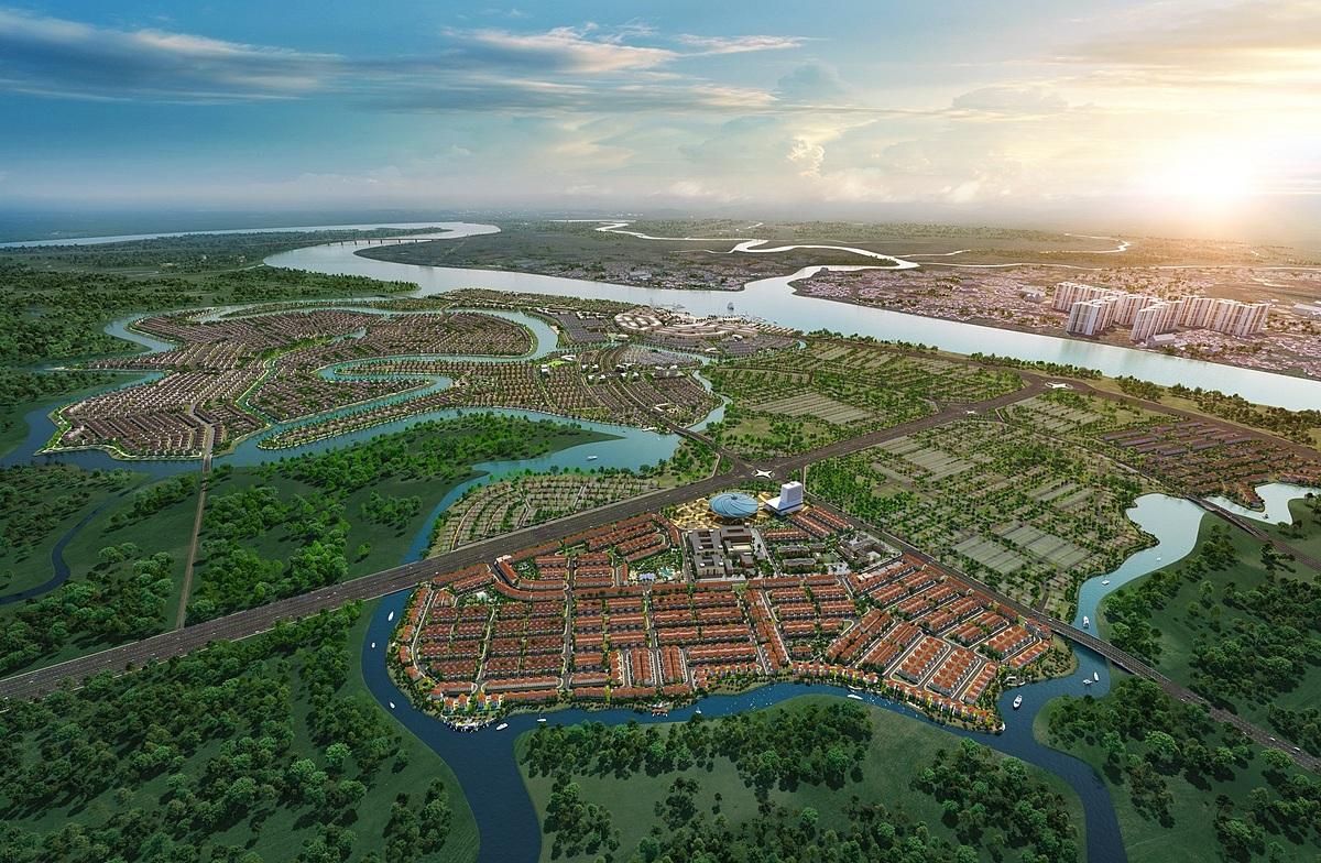 Phối cảnh khu đô thị sinh thái thông minh Aqua City quy mô hơn 600 ha tại phía Đông TP HCM, được bao bọc bởi các hệ thống sông lớn như sông Đồng Nai, sông Buông, sông Trong.