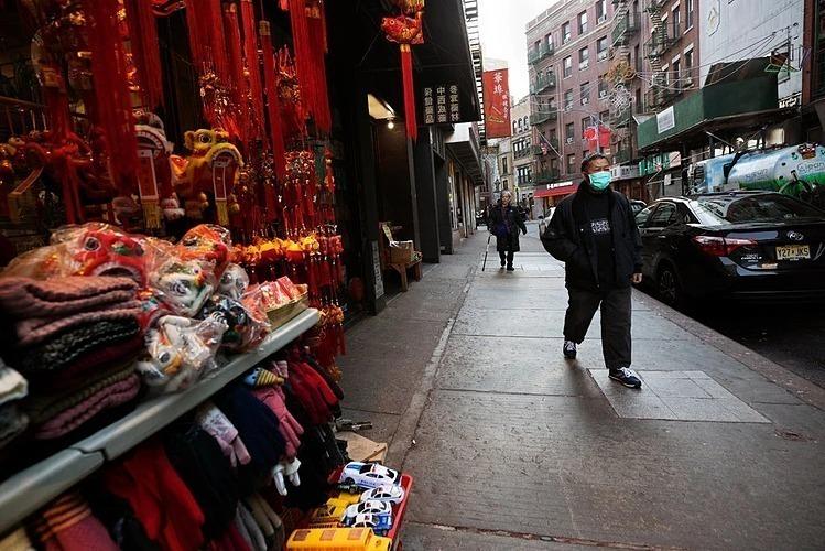 Những con phố vắng trong khu người Hoaở Manhattan.Ảnh:NYT