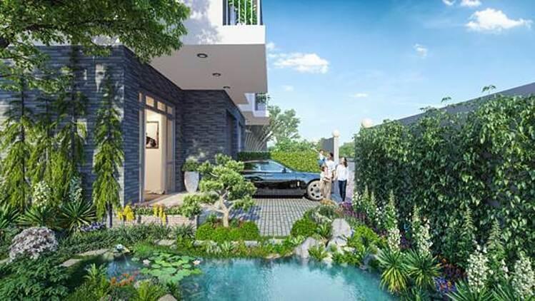 Phối cảnh mẫu nhà sân vườn tại dự án Đông Tăng Long -An Lộc.