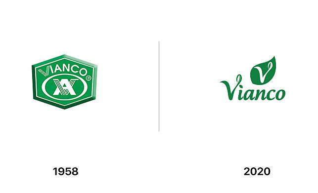 Bộ nhận diện thương hiệu cũ và mới của Vianco.