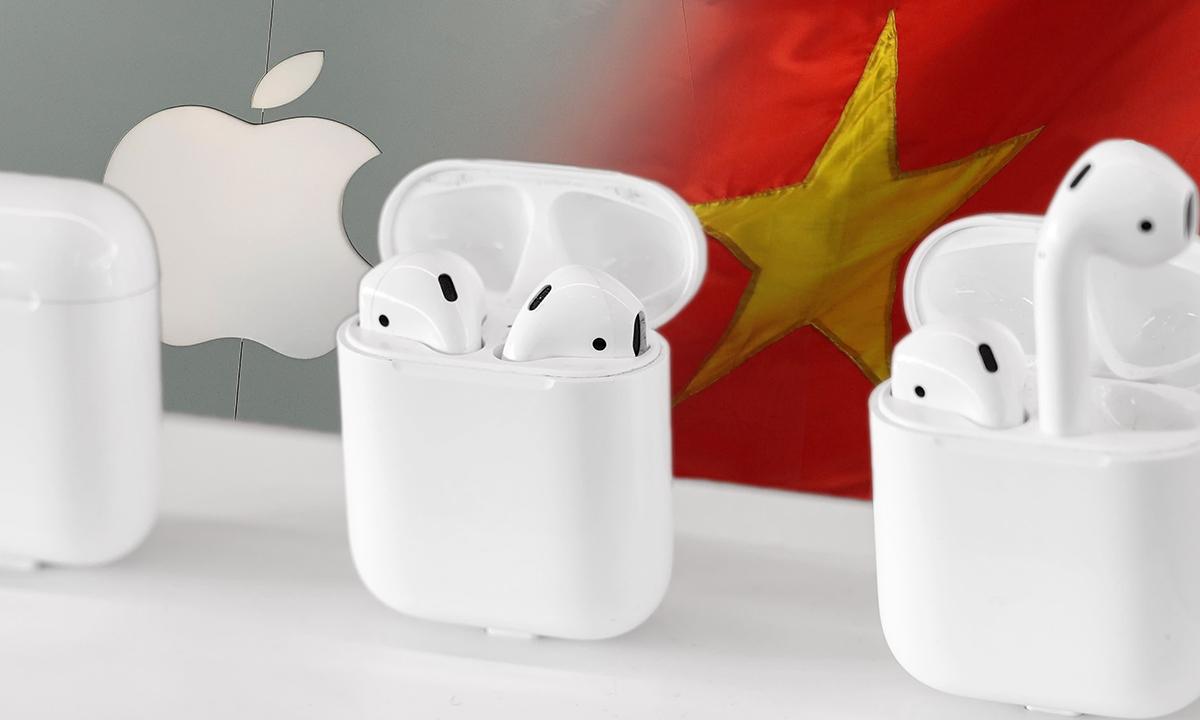 Tai nghe AirPods của Apple. Ảnh: Nikkei