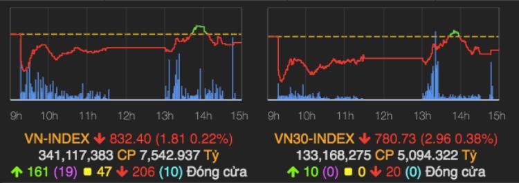 Diễn biến hai chỉ số chính phiên 14/5. Ảnh: VNDirect.