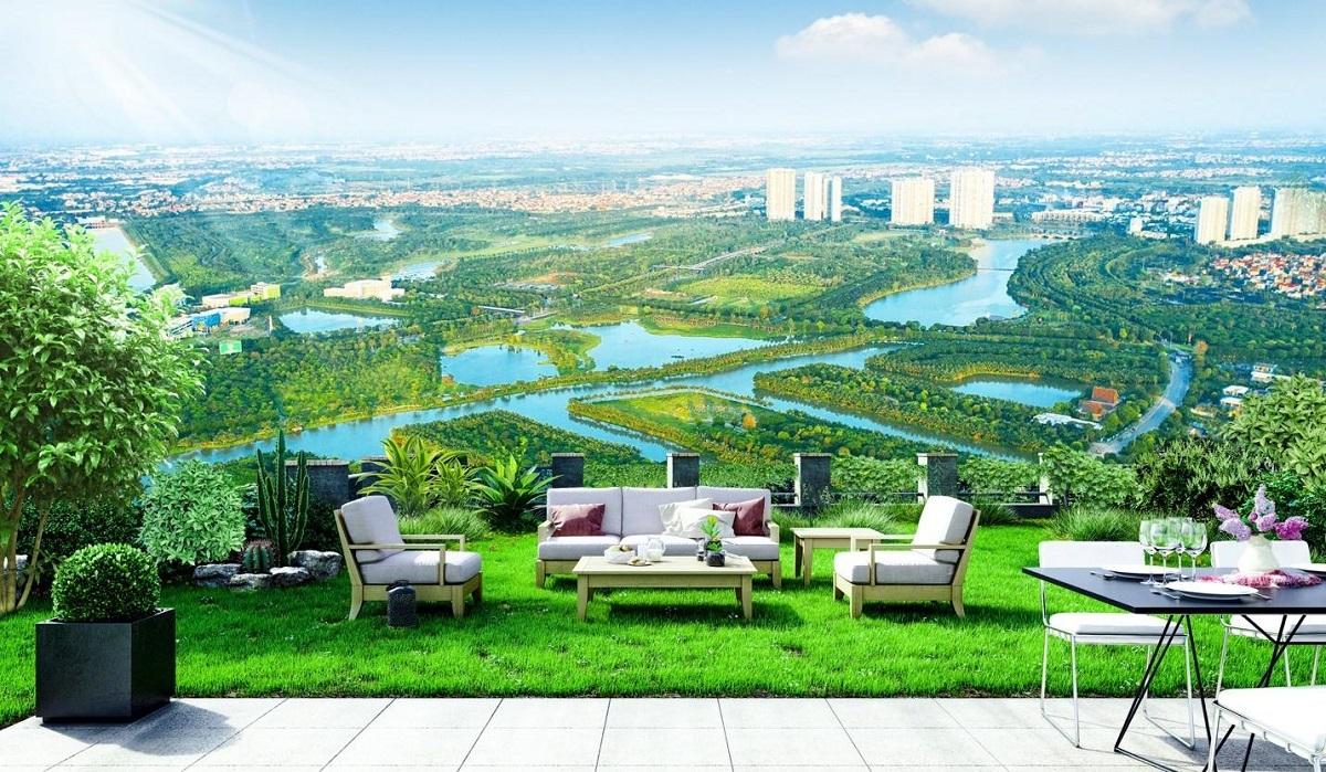 Vườn dạo bộ chân mây của Sky Oasis trên sân thượng.