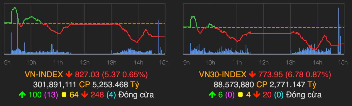 VN-Index kết phiên 15/5 trong sắc đỏ. Ảnh: VN-Index.