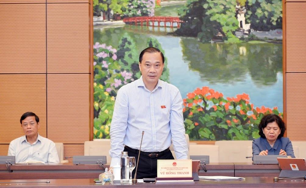 Ông Vũ Hồng Thanh - Chủ nhiệm Uỷ ban Kinh tế của Quốc hội phát biểu tại phiên họp chiều 16/5. Ảnh: Trung tâm báo chí Quốc hội.