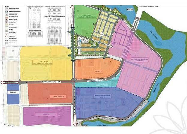 Mặt bằng quay hoạch cơ cấu sử dụng đất các dự án xã Tiền Phong, huyện Mê Linh, TP Hà Nội.