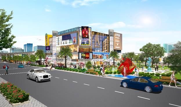 Phối cảnh khu trung tâm tiện ích của dự án Bình Dương Avenue City.