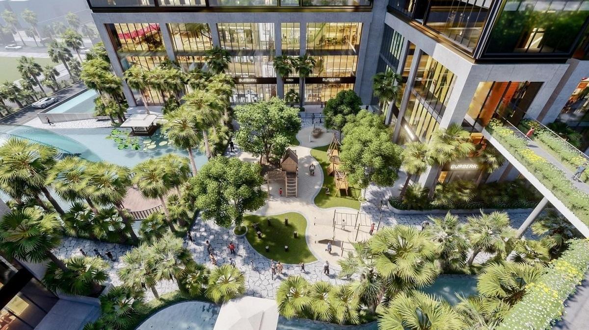Sunshine City Sài Gòn thiết kế như một ốc đảo nghỉ dưỡng với diện tích cây xanh rộng lớn và mặt nước bao quanh.