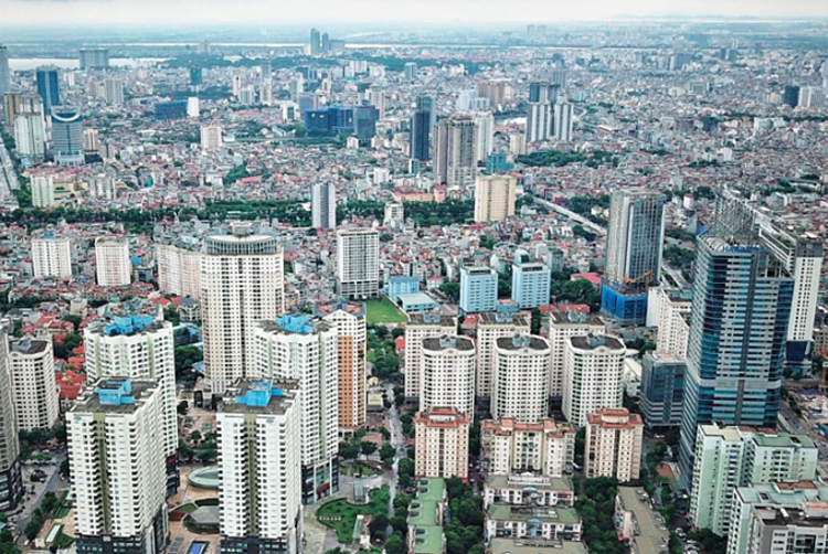 Ngày càng nhiều chung cư cao tầng được xây dựngtại HàNội. Ảnh:Giang Huy.
