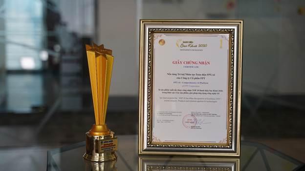 Giấy chứng nhận giải thưởng của nền tảng FPT.AI.