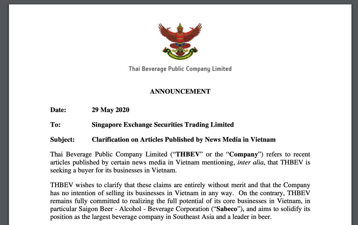 Thông báo gửi Sở giao dịch chứng khoán Singapore của ThaiBev. Ảnh: SGX