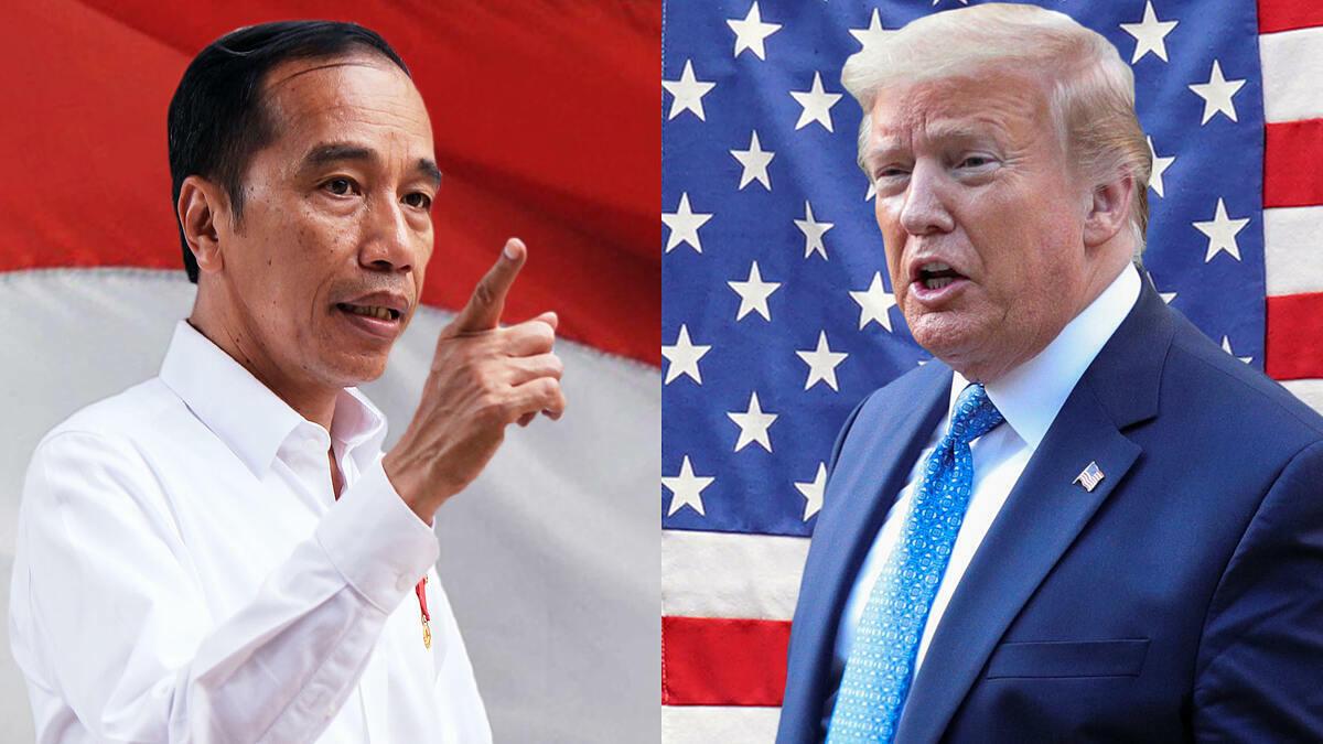 Tổng thống Indonesia Joko Widodo,và Tổng thống Mỹ Donald Trump. Ảnh: AP, Reuters. Đồ họa: Nikkei