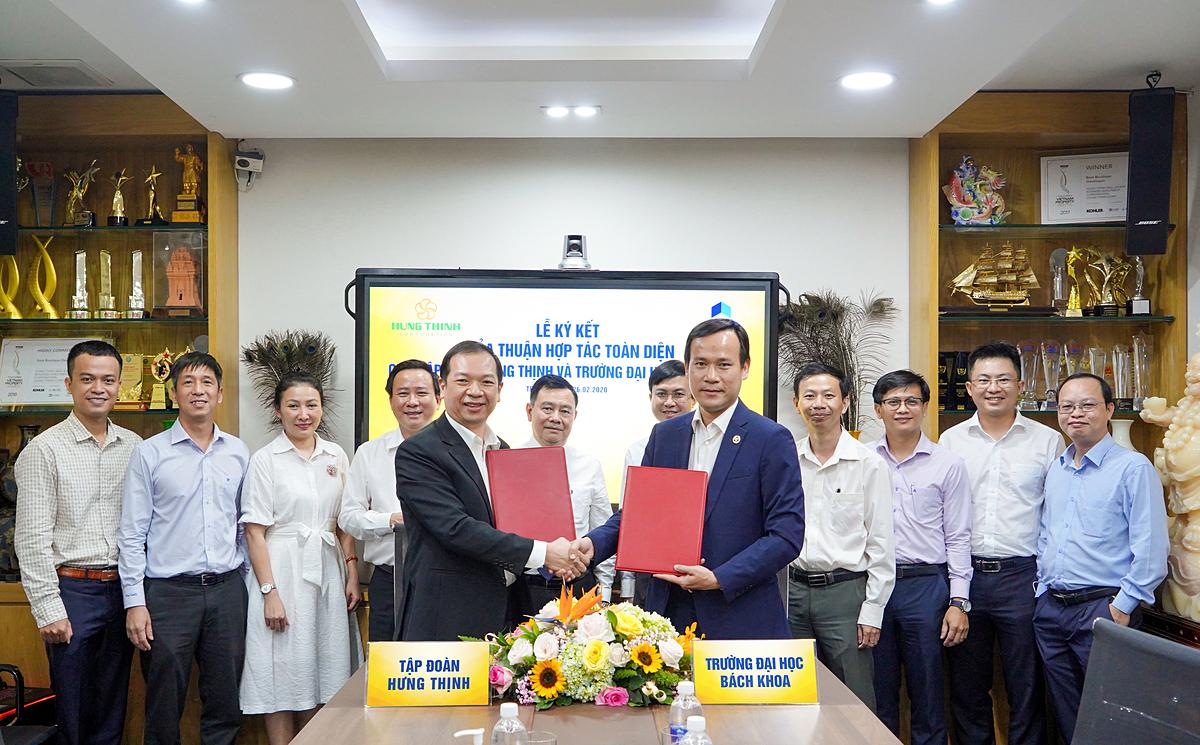 Đại diện Tập đoàn Hưng Thịnh và Đại học Bách Khoa TP HCM ký kết hợp tác toàn diện vào tháng2.