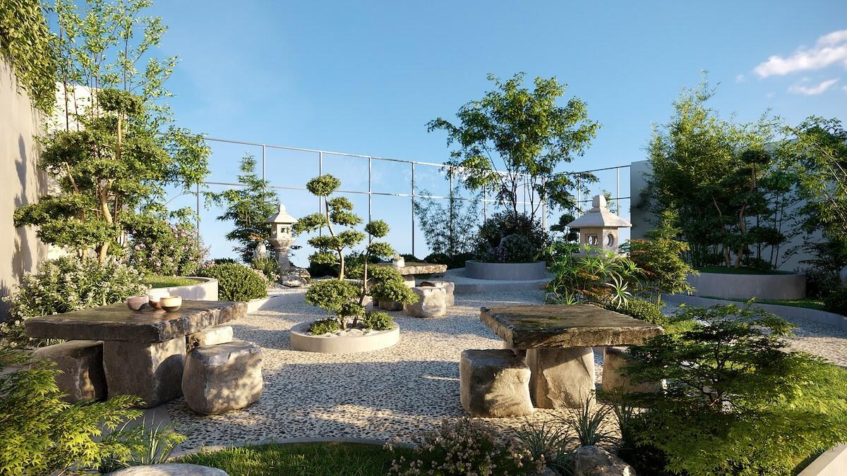 Phối cảnh vườn thiền trên không Eden Garden.