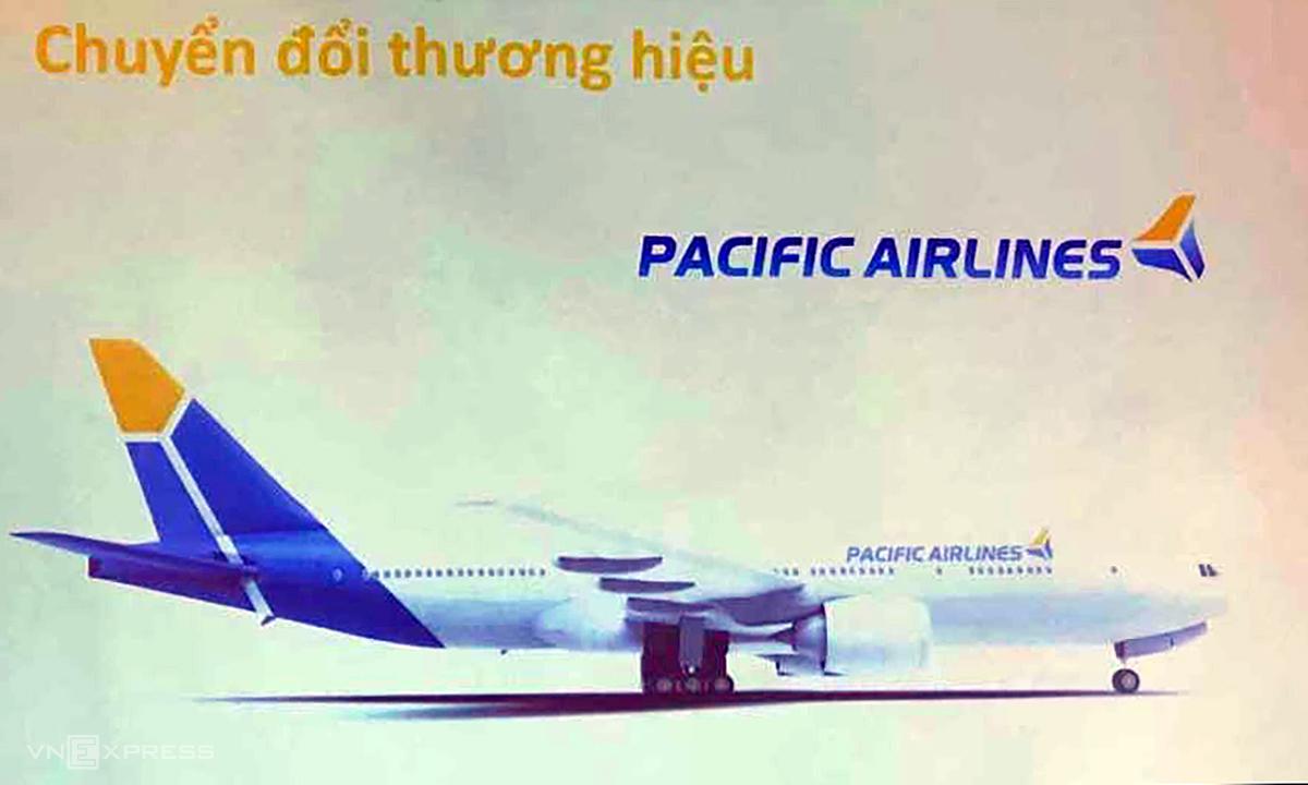 Bộ nhận diện và màu sơn máy bay dự kiến của Pacific Airlines. Ảnh: Anh Tú