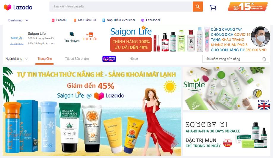 Cửa hàng của Saigon Life trên sàn thương mại điện tử Lazada.