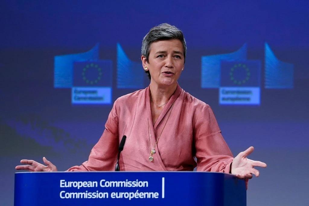 Bà Margrethe Vestager phát biểu tại Nghị viên châu Âu. Ảnh:Kenzo Tribouillard