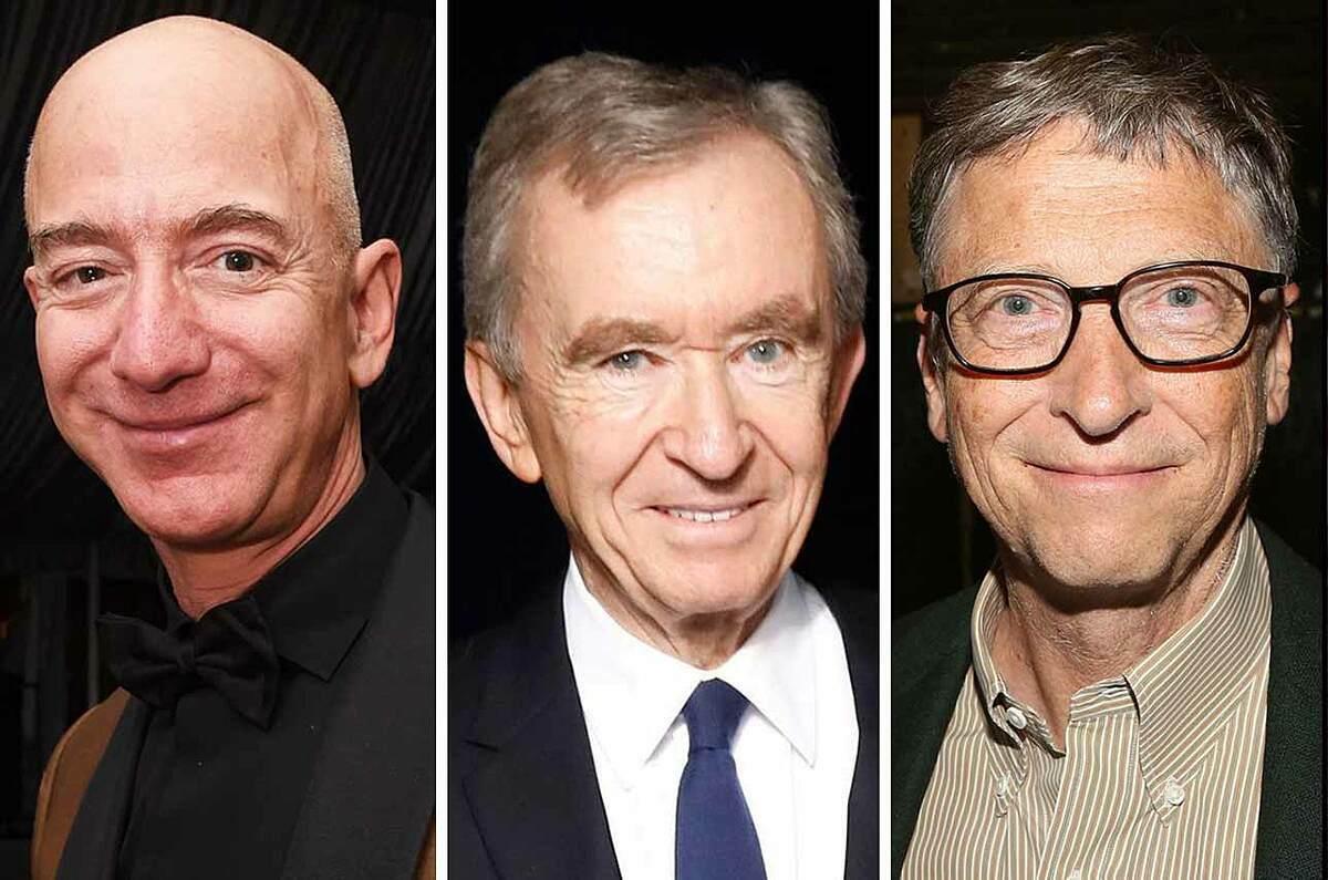 Jeff Bezos (trái), Bernard Arnault và Bill Gates hiện là những người giàu nhất thế giới. Ảnh: Eyerys